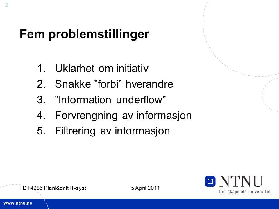 """2 5 April 2011 TDT4285 Planl&drift IT-syst Fem problemstillinger 1.Uklarhet om initiativ 2.Snakke """"forbi"""" hverandre 3.""""Information underflow"""" 4.Forvre"""