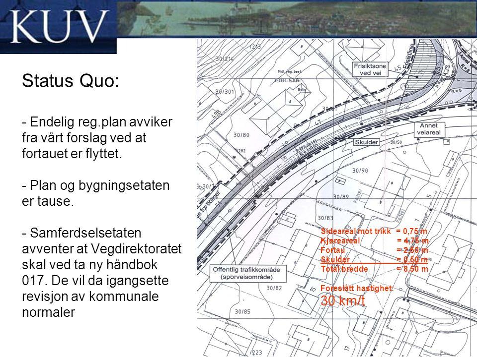 Status Quo: - Endelig reg.plan avviker fra vårt forslag ved at fortauet er flyttet. - Plan og bygningsetaten er tause. - Samferdselsetaten avventer at