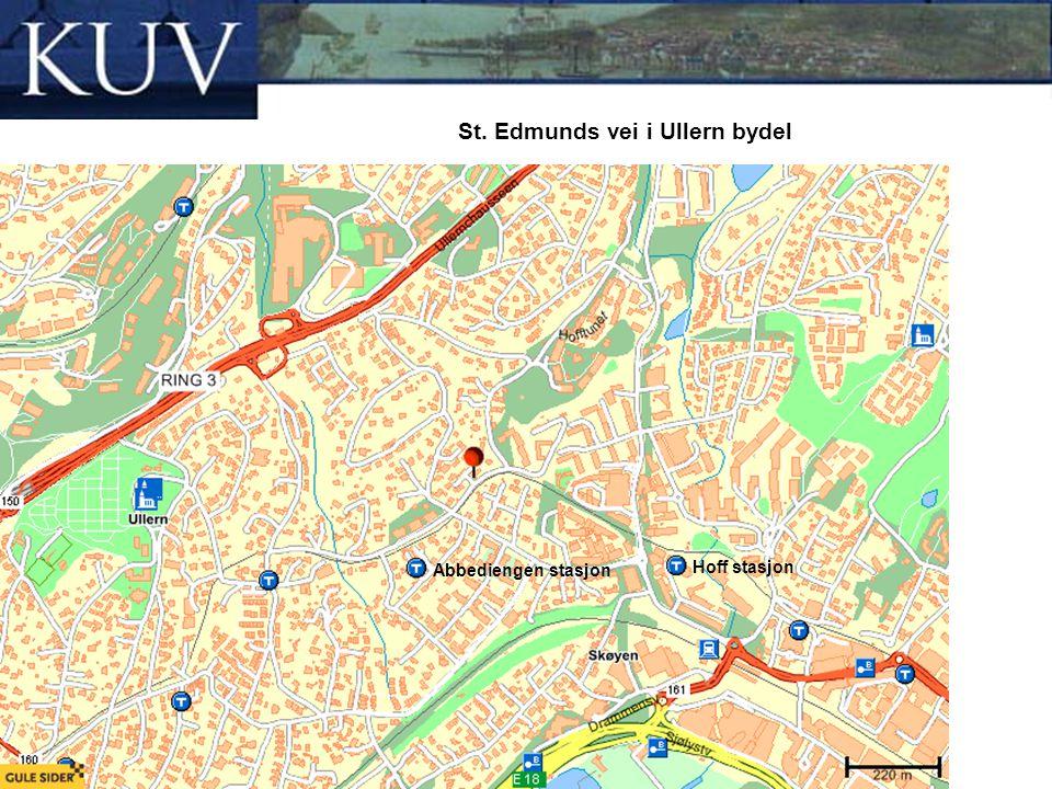 St. Edmunds vei i Ullern bydel Abbediengen stasjon Hoff stasjon