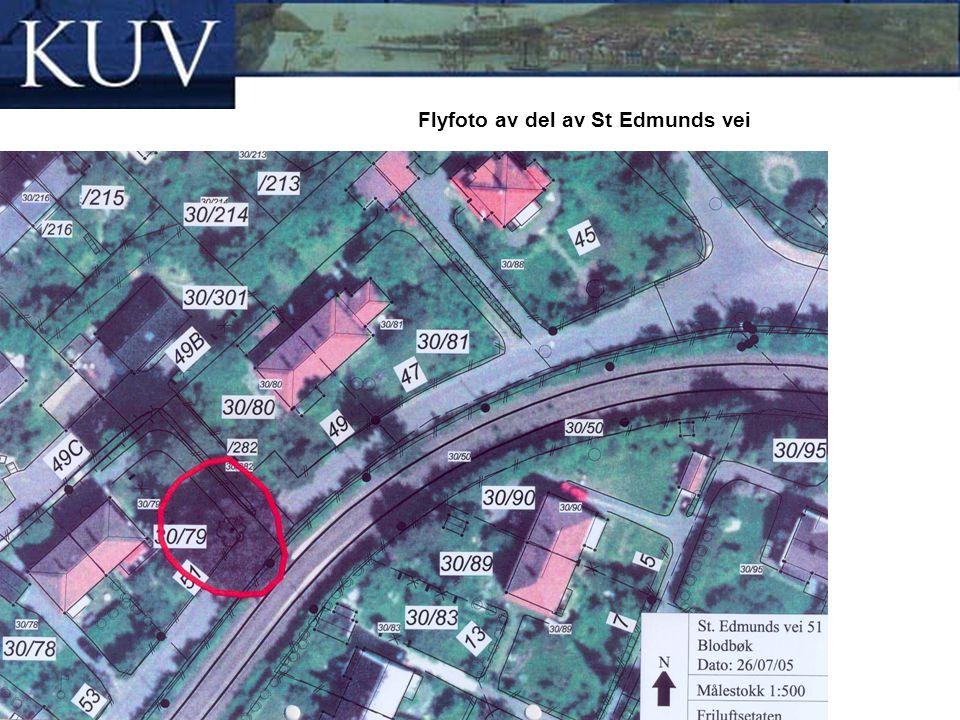 Flyfoto av del av St Edmunds vei