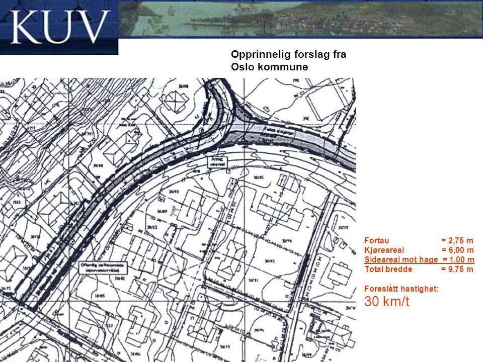 Fortau = 2,75 m Kjøreareal = 6,00 m Sideareal mot hage = 1,00 m Total bredde = 9,75 m Foreslått hastighet: 30 km/t Opprinnelig forslag fra Oslo kommun