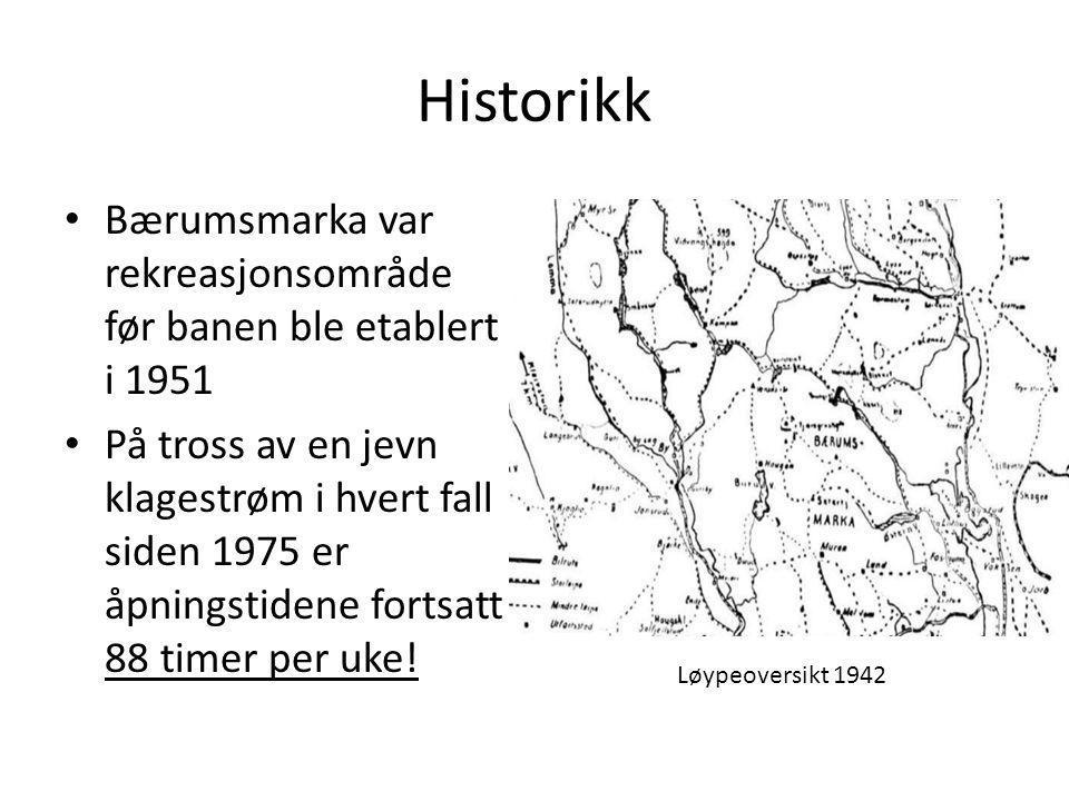 Historikk • Bærumsmarka var rekreasjonsområde før banen ble etablert i 1951 • På tross av en jevn klagestrøm i hvert fall siden 1975 er åpningstidene fortsatt 88 timer per uke.