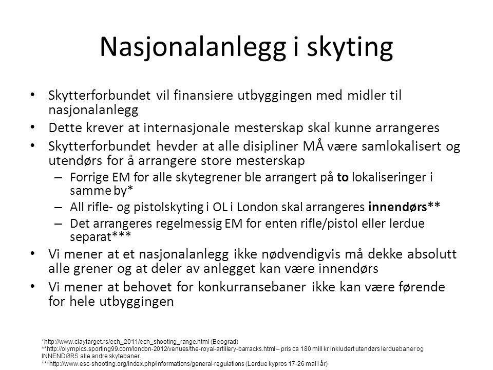 Nasjonalanlegg i skyting • Skytterforbundet vil finansiere utbyggingen med midler til nasjonalanlegg • Dette krever at internasjonale mesterskap skal
