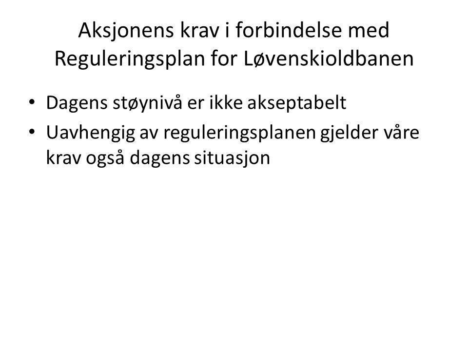 Aksjonens krav i forbindelse med Reguleringsplan for Løvenskioldbanen • Dagens støynivå er ikke akseptabelt • Uavhengig av reguleringsplanen gjelder v