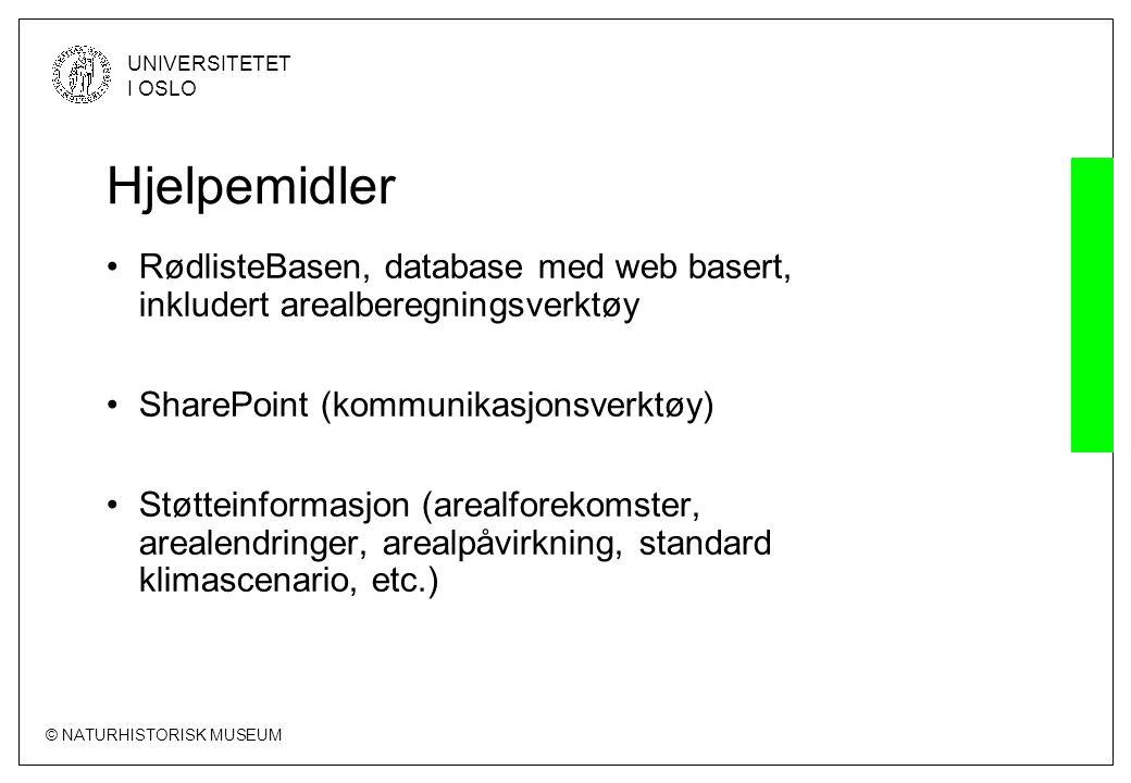 © NATURHISTORISK MUSEUM UNIVERSITETET I OSLO Hjelpemidler •RødlisteBasen, database med web basert, inkludert arealberegningsverktøy •SharePoint (kommu