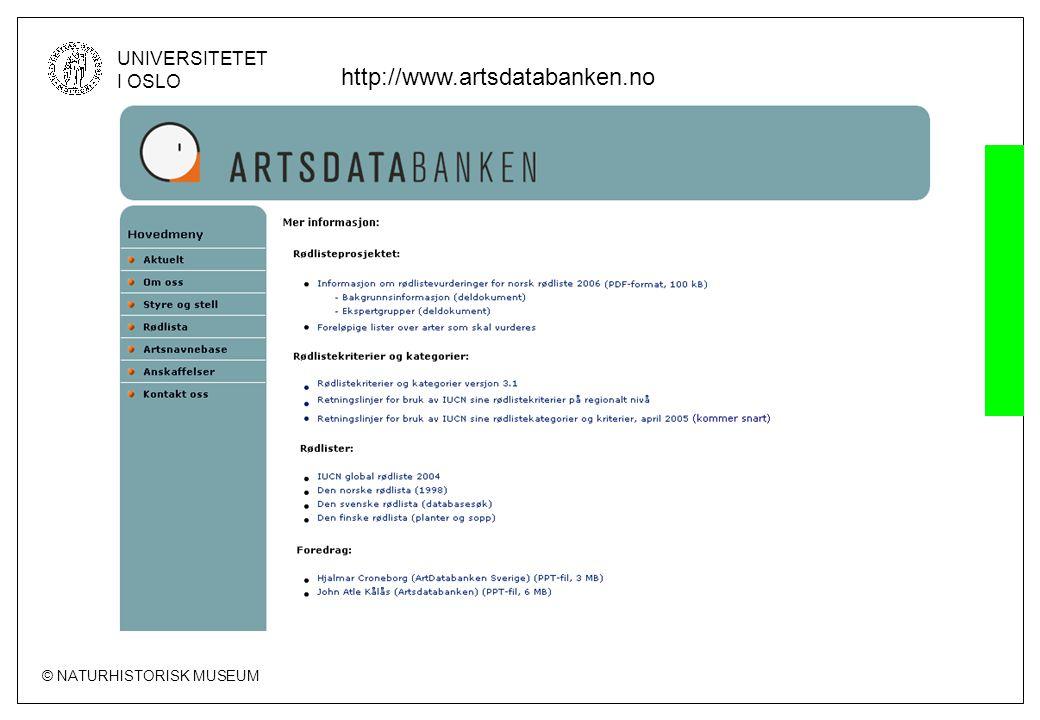 © NATURHISTORISK MUSEUM UNIVERSITETET I OSLO http://www.artsdatabanken.no