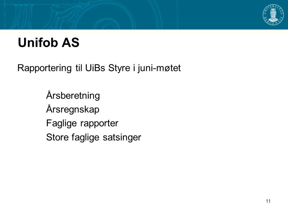 11 Unifob AS Rapportering til UiBs Styre i juni-møtet Årsberetning Årsregnskap Faglige rapporter Store faglige satsinger