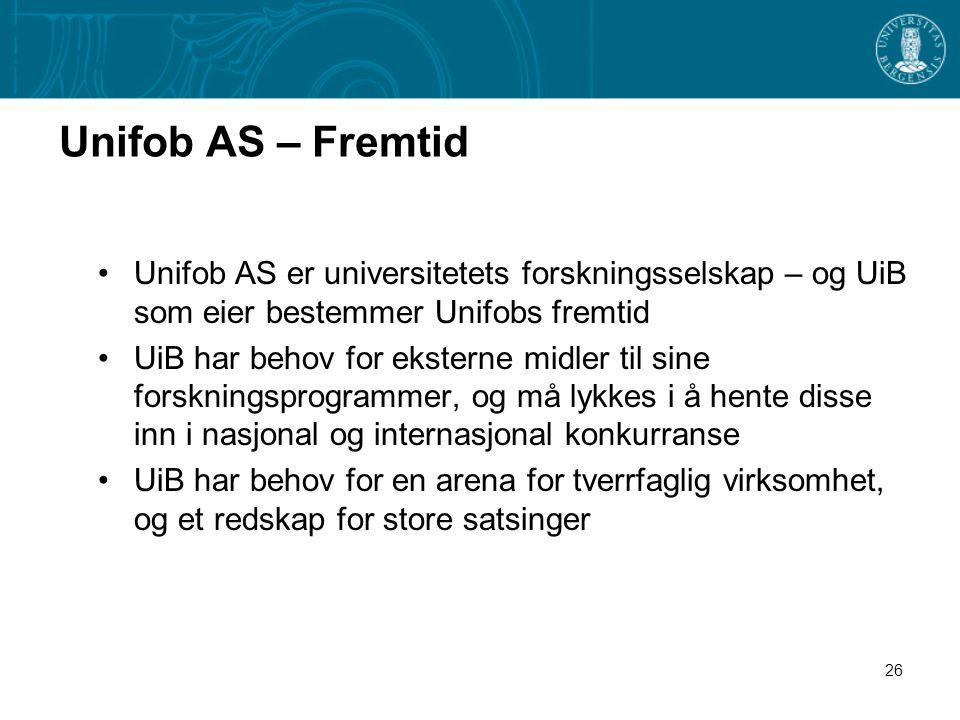 26 Unifob AS – Fremtid •Unifob AS er universitetets forskningsselskap – og UiB som eier bestemmer Unifobs fremtid •UiB har behov for eksterne midler til sine forskningsprogrammer, og må lykkes i å hente disse inn i nasjonal og internasjonal konkurranse •UiB har behov for en arena for tverrfaglig virksomhet, og et redskap for store satsinger