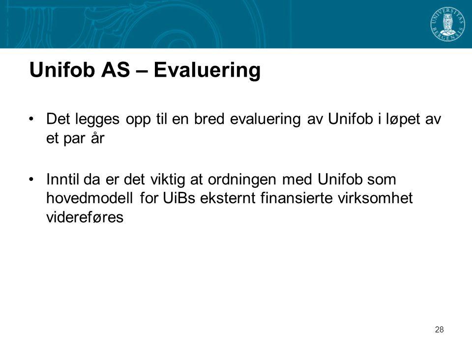 28 Unifob AS – Evaluering •Det legges opp til en bred evaluering av Unifob i løpet av et par år •Inntil da er det viktig at ordningen med Unifob som hovedmodell for UiBs eksternt finansierte virksomhet videreføres