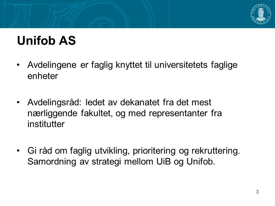 3 Unifob AS •Avdelingene er faglig knyttet til universitetets faglige enheter •Avdelingsråd: ledet av dekanatet fra det mest nærliggende fakultet, og med representanter fra institutter •Gi råd om faglig utvikling, prioritering og rekruttering.
