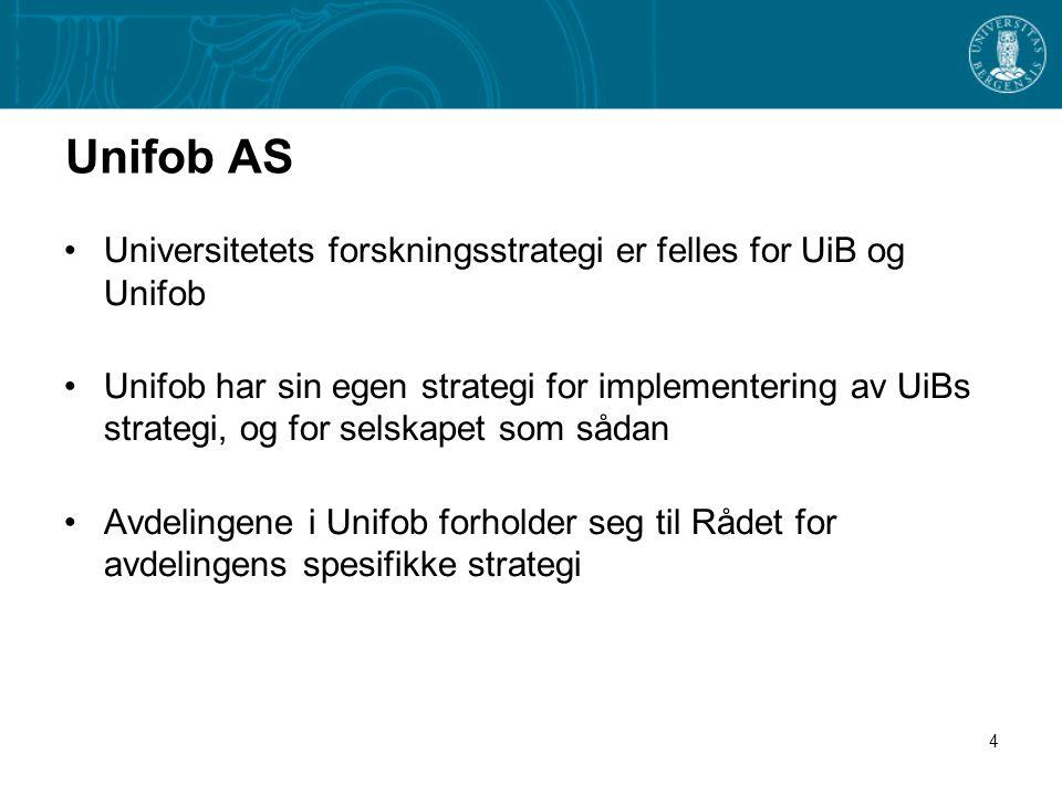 4 Unifob AS •Universitetets forskningsstrategi er felles for UiB og Unifob •Unifob har sin egen strategi for implementering av UiBs strategi, og for selskapet som sådan •Avdelingene i Unifob forholder seg til Rådet for avdelingens spesifikke strategi