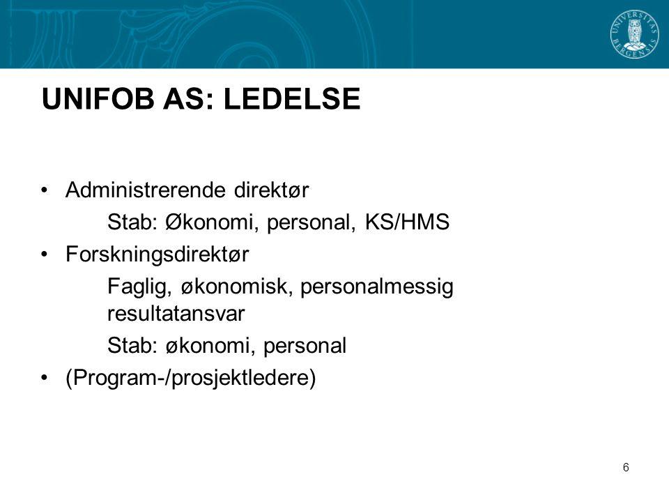 6 UNIFOB AS: LEDELSE •Administrerende direktør Stab: Økonomi, personal, KS/HMS •Forskningsdirektør Faglig, økonomisk, personalmessig resultatansvar Stab: økonomi, personal •(Program-/prosjektledere)