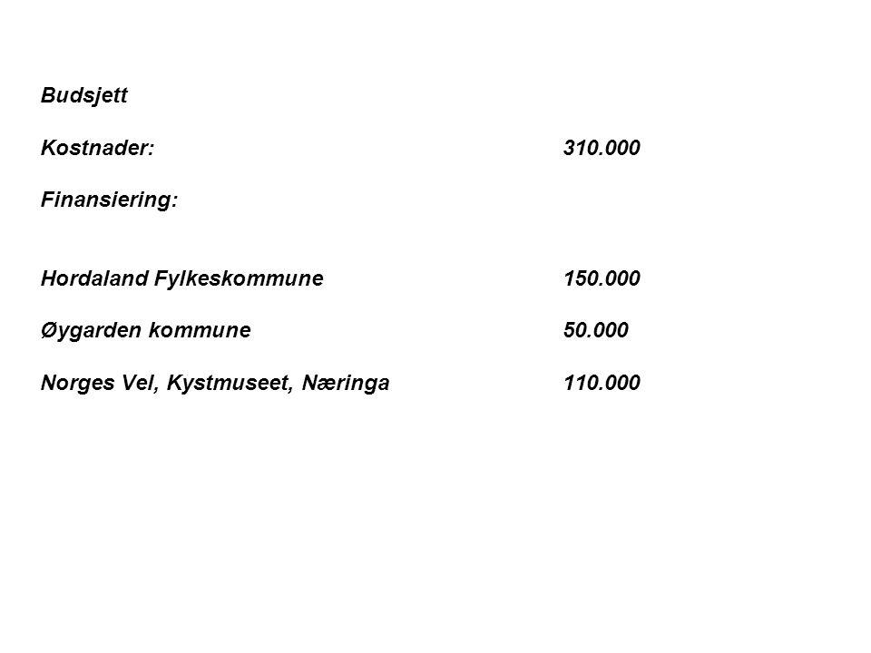Budsjett Kostnader:310.000 Finansiering: Hordaland Fylkeskommune150.000 Øygarden kommune 50.000 Norges Vel, Kystmuseet, Næringa110.000