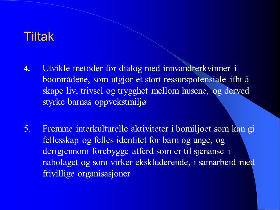 Tiltak 4. Utvikle metoder for dialog med innvandrerkvinner i boområdene, som utgjør et stort ressurspotensiale ifht å skape liv, trivsel og trygghet m