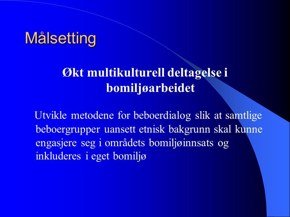 Målsetting Økt multikulturell deltagelse i bomiljøarbeidet Utvikle metodene for beboerdialog slik at samtlige beboergrupper uansett etnisk bakgrunn skal kunne engasjere seg i områdets bomiljøinnsats og inkluderes i eget bomiljø