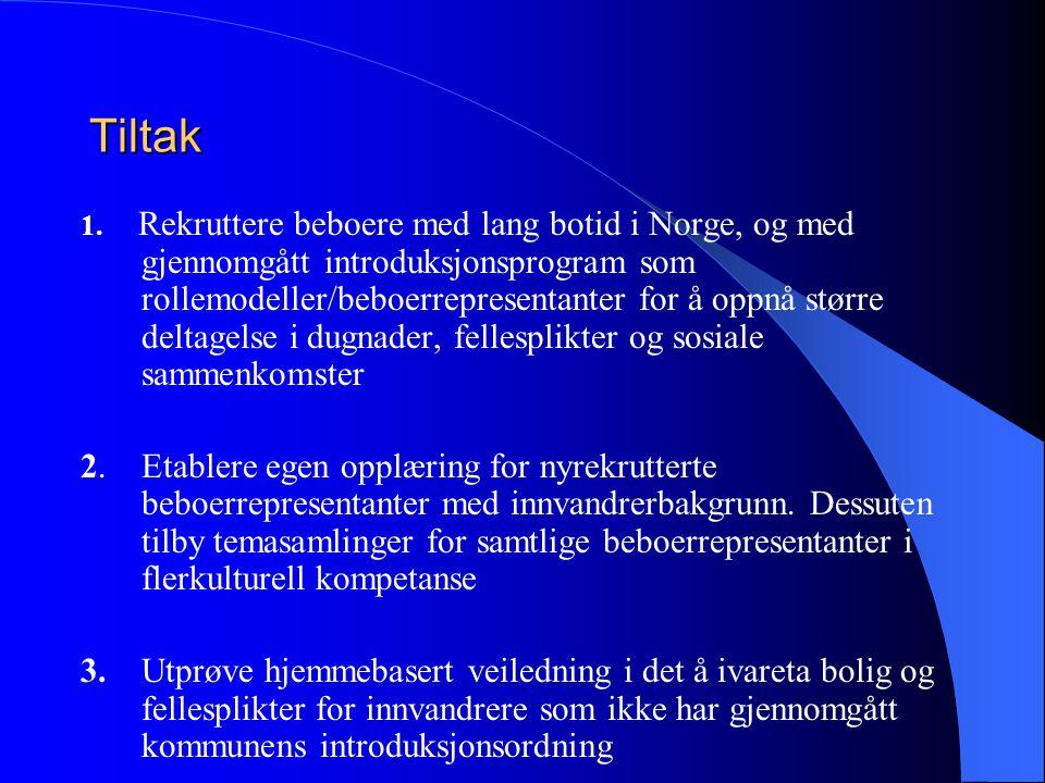 Tiltak 1. Rekruttere beboere med lang botid i Norge, og med gjennomgått introduksjonsprogram som rollemodeller/beboerrepresentanter for å oppnå større