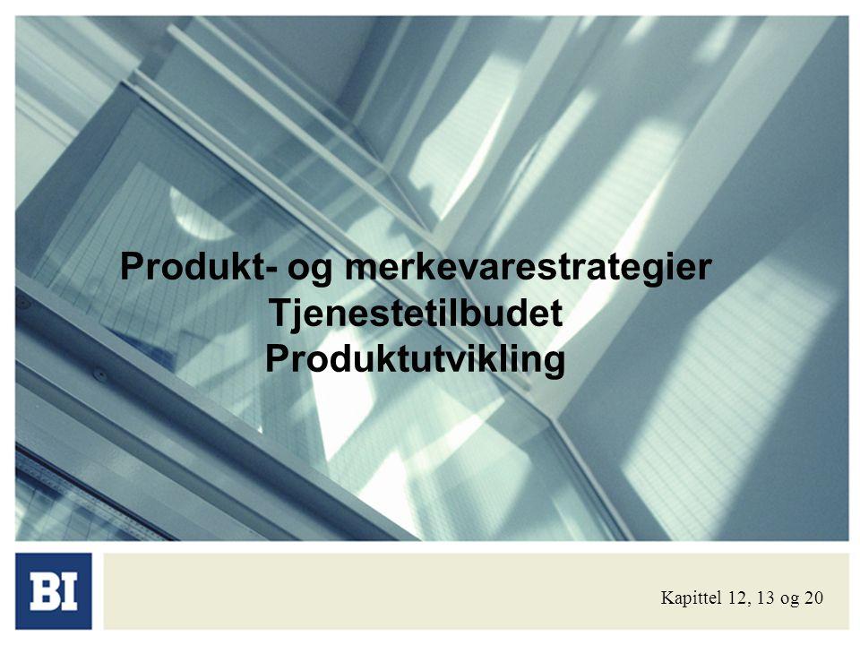 Dagens tekst: • Om produktet og dets karakteristika • Produktmiks og produktlinjer • Merkevarebeslutninger • Tjenester og deres særtrekk • Nye produkter: • Fasene i produktutviklingsprosessen • Adopsjon og diffusjon