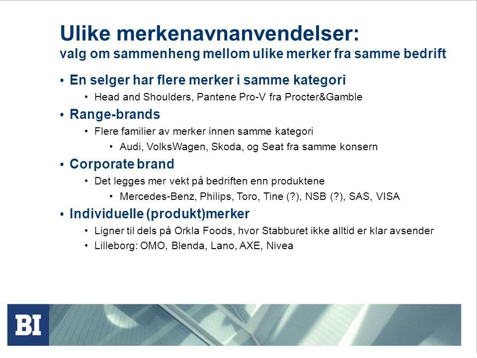 Ulike merkenavnanvendelser: valg om sammenheng mellom ulike merker fra samme bedrift • En selger har flere merker i samme kategori • Head and Shoulder