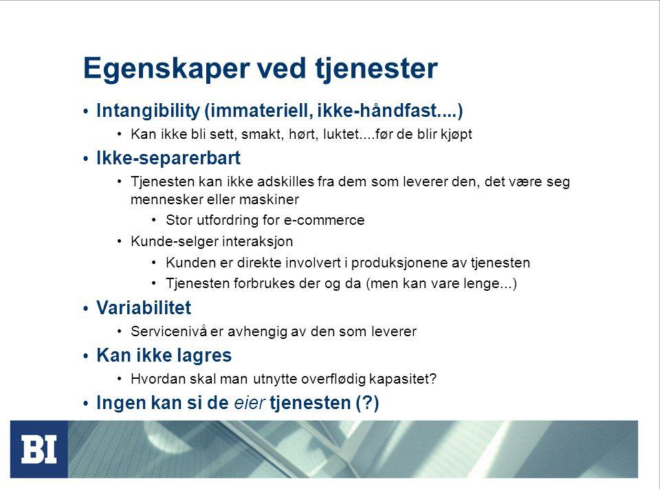 Egenskaper ved tjenester • Intangibility (immateriell, ikke-håndfast....) • Kan ikke bli sett, smakt, hørt, luktet....før de blir kjøpt • Ikke-separer