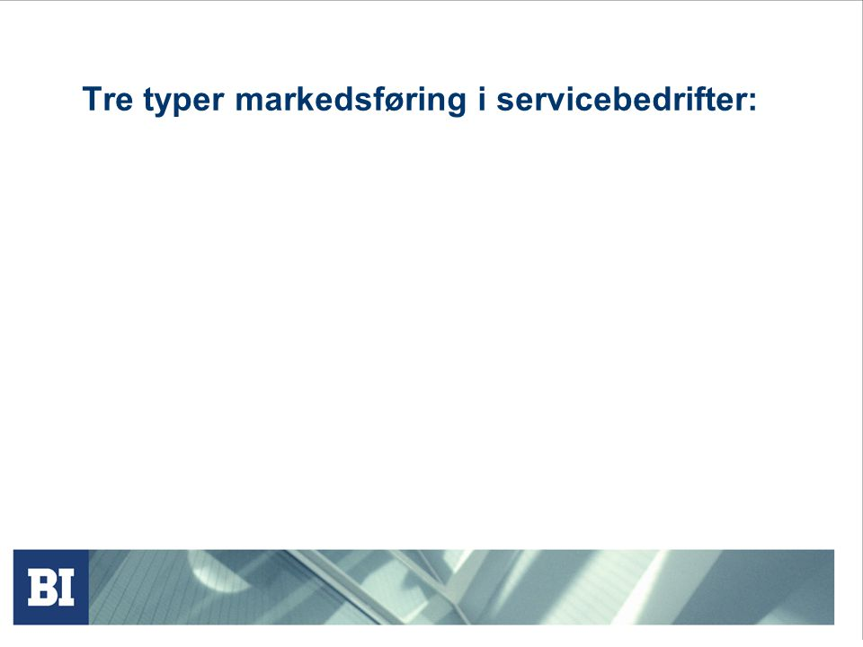 Tre typer markedsføring i servicebedrifter: