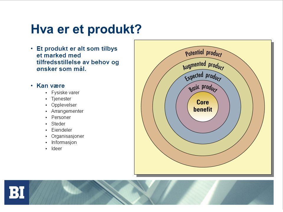 Produkthierarkiet • Behovsfamilie • Det grunnleggende behov som finnes for produktfamilien • Produktfamilie • Alle produktgruppene som kan tilfredsstille dette behovet • Produktgruppe • En gruppe produkter innen familien som besitter en viss funksjonell likhet • Produktlinje • En gruppe produkter innen en produktgruppe som er nært beslektet fordi de har samme funksjon, selges til den samme målgruppen, gjennom samme kanaler, etc • Produkttype • En gruppe produktenheter som alle tilhører en av flere varianter av produktet • Produktenhet • En enkelt utgave av produktet innen en produktlinje eller merkelinje sin kan skilles fra andre basert på pris, utseende, etc.