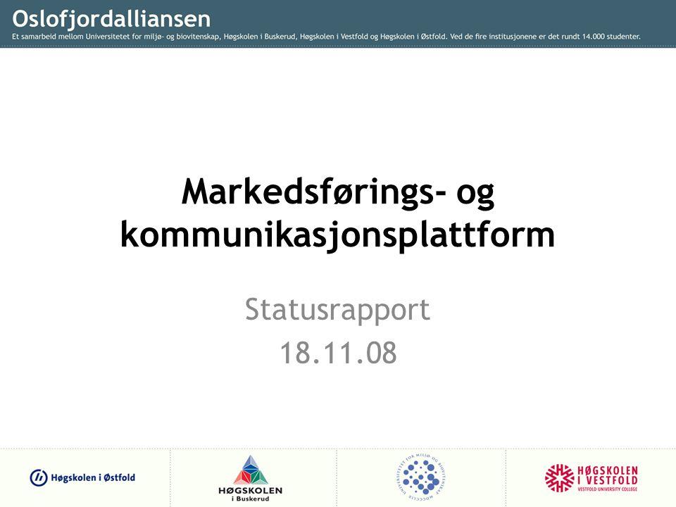 Markedsførings- og kommunikasjonsplattform Statusrapport 18.11.08
