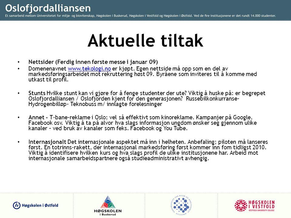 Aktuelle tiltak • Nettsider (Ferdig innen første messe i januar 09) • Domenenavnet www.tekologi.no er kjøpt.