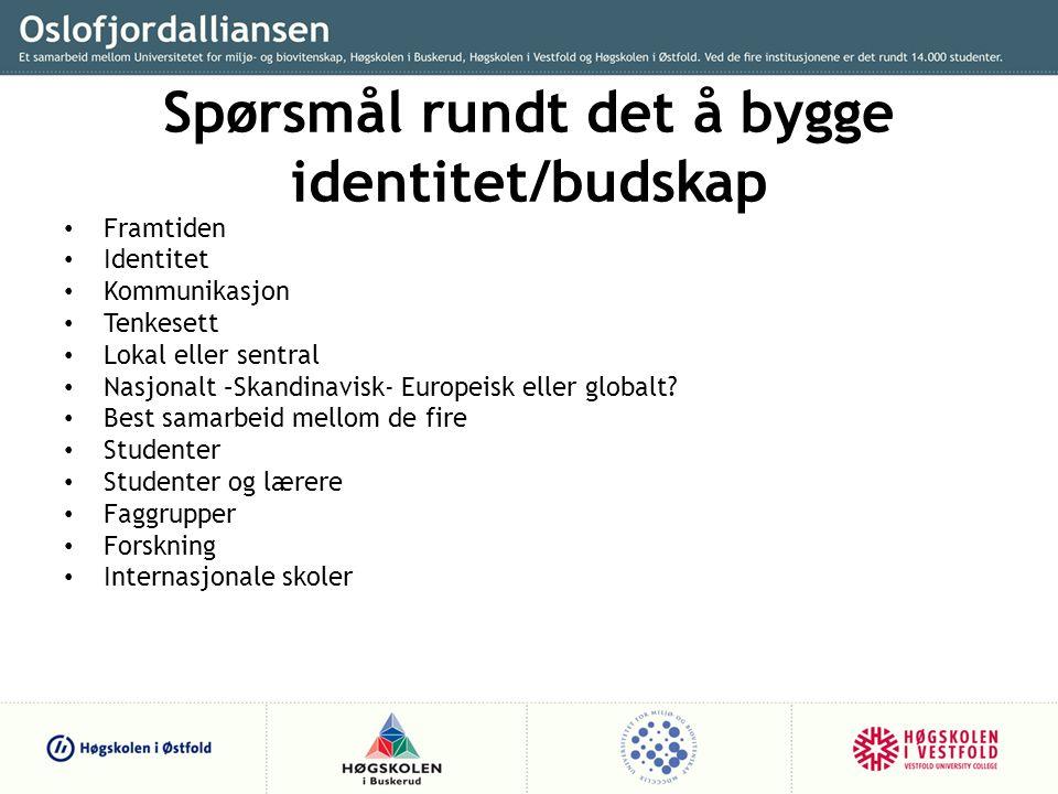 Spørsmål rundt det å bygge identitet/budskap • Framtiden • Identitet • Kommunikasjon • Tenkesett • Lokal eller sentral • Nasjonalt –Skandinavisk- Europeisk eller globalt.