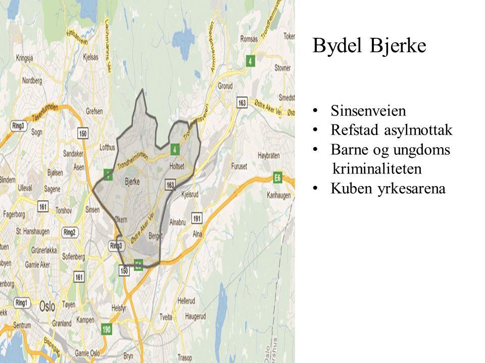 Bydel Bjerke • Sinsenveien • Refstad asylmottak • Barne og ungdoms kriminaliteten • Kuben yrkesarena