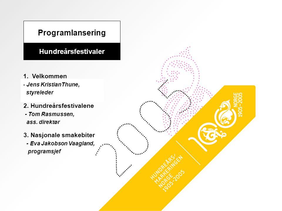 Programlansering Hundreårsfestivaler 1. Velkommen - Jens KristianThune, styreleder 2. Hundreårsfestivalene - Tom Rasmussen, ass. direktør 3. Nasjonale