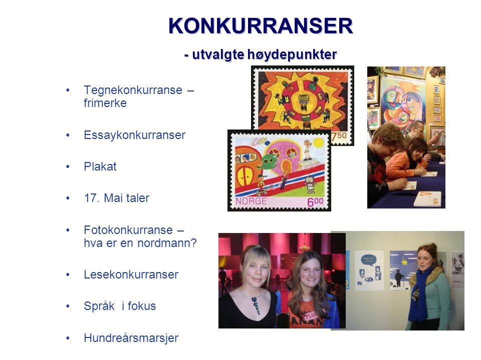 KONKURRANSER - utvalgte høydepunkter •Tegnekonkurranse – frimerke •Essaykonkurranser •Plakat •17. Mai taler •Fotokonkurranse – hva er en nordmann? •Le