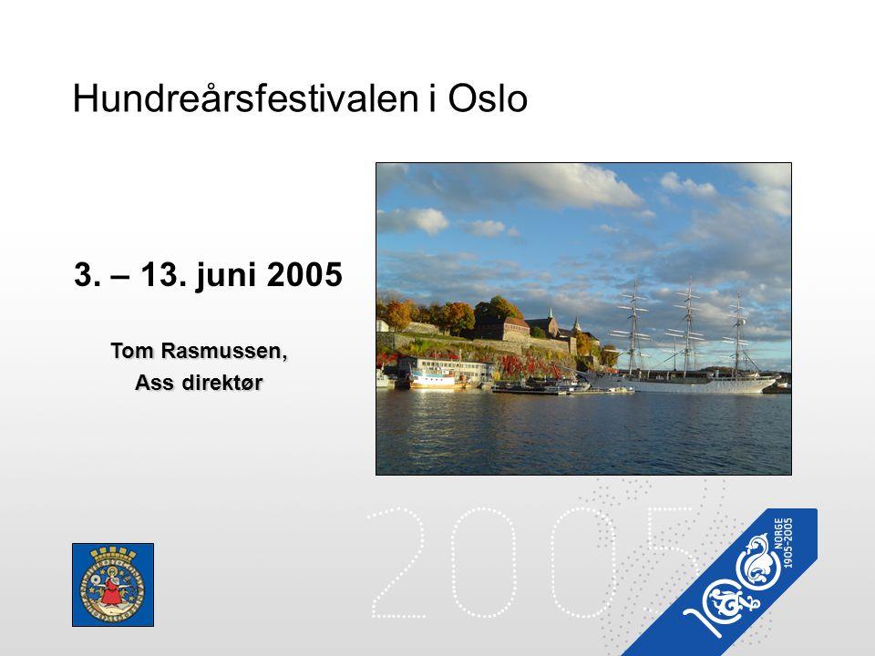 Hundreårsfestivalen i Oslo 3. – 13. juni 2005 Tom Rasmussen, Ass direktør
