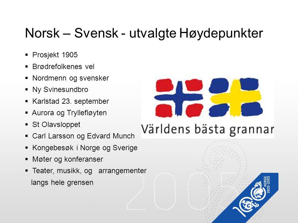 Prosjekt 1905  Brødrefolkenes vel  Nordmenn og svensker  Ny Svinesundbro  Karlstad 23. september  Aurora og Tryllefløyten  St Olavsloppet  Ca