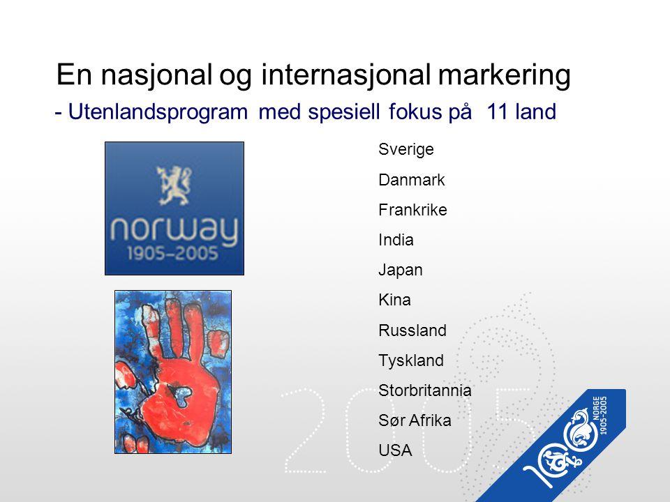 En nasjonal og internasjonal markering - Utenlandsprogram med spesiell fokus på 11 land Sverige Danmark Frankrike India Japan Kina Russland Tyskland S
