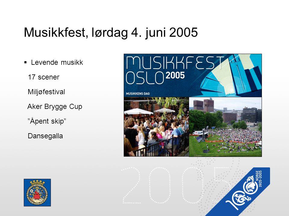 """Musikkfest, lørdag 4. juni 2005  Levende musikk 17 scener Miljøfestival Aker Brygge Cup """"Åpent skip"""" Dansegalla"""