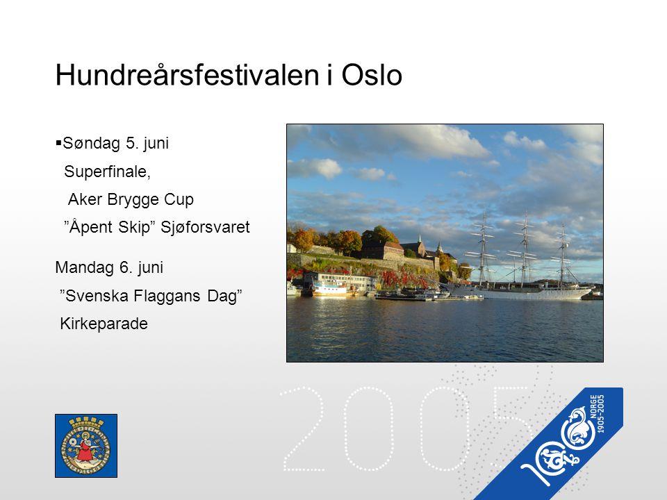 """Hundreårsfestivalen i Oslo  Søndag 5. juni Superfinale, Aker Brygge Cup """"Åpent Skip"""" Sjøforsvaret Mandag 6. juni """"Svenska Flaggans Dag"""" Kirkeparade"""