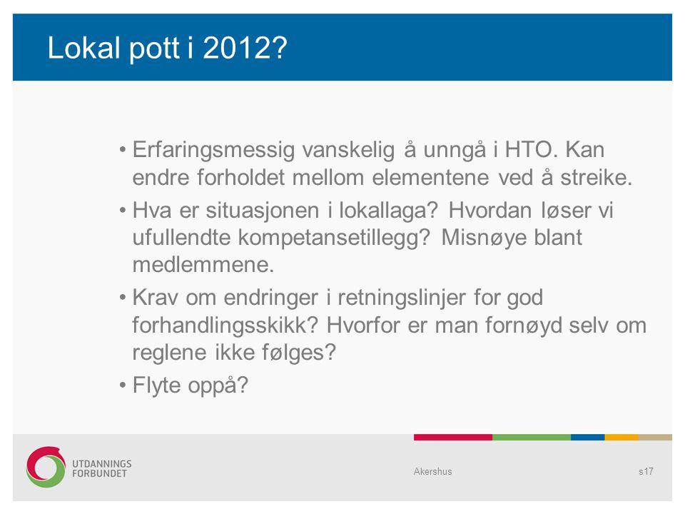 Lokal pott i 2012? •Erfaringsmessig vanskelig å unngå i HTO. Kan endre forholdet mellom elementene ved å streike. •Hva er situasjonen i lokallaga? Hvo