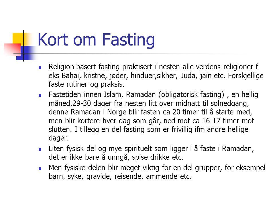 Kort om Fasting  Religion basert fasting praktisert i nesten alle verdens religioner f eks Bahai, kristne, jøder, hinduer,sikher, Juda, jain etc. For