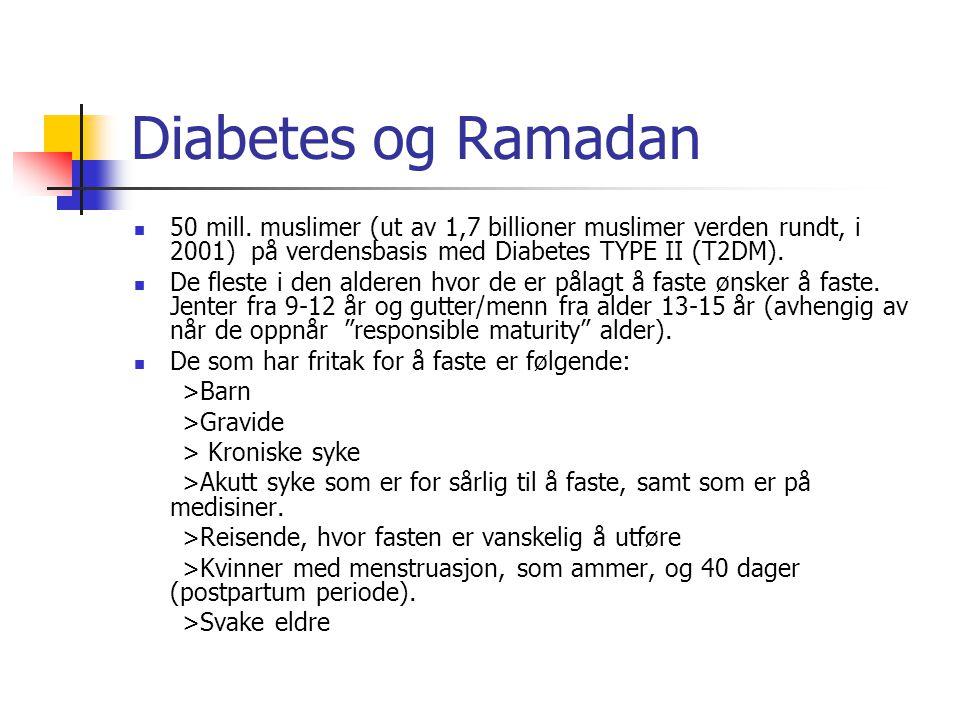 Diabetes og Ramadan  50 mill. muslimer (ut av 1,7 billioner muslimer verden rundt, i 2001) på verdensbasis med Diabetes TYPE II (T2DM).  De fleste i