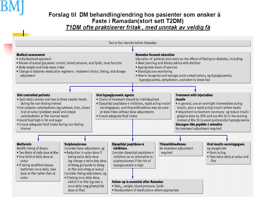 Forslag til DM behandling/endring hos pasienter som ønsker å Faste i Ramadan(stort sett T2DM) T1DM ofte praktiserer fritak, med unntak av veldig få