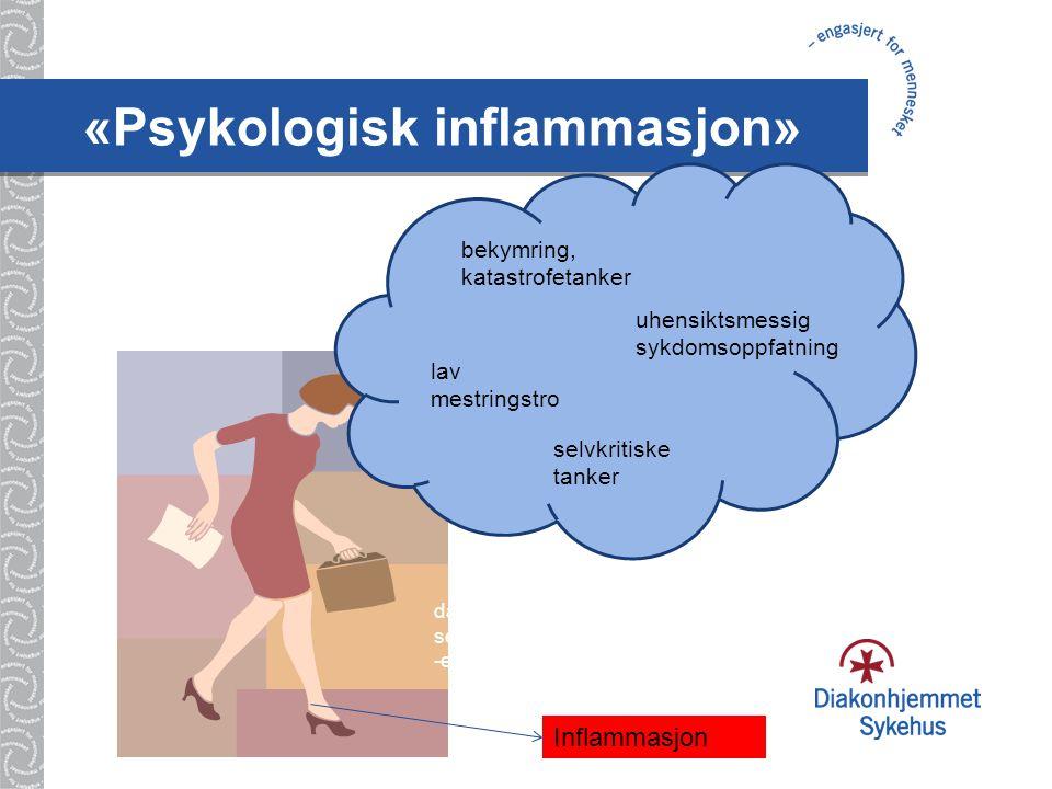 «Psykologisk inflammasjon» Inflammasjon bekymring, katastrofetanker selvkritiske tanker uhensiktsmessig sykdomsoppfatning dårlig selvføl -else lav mestringstro