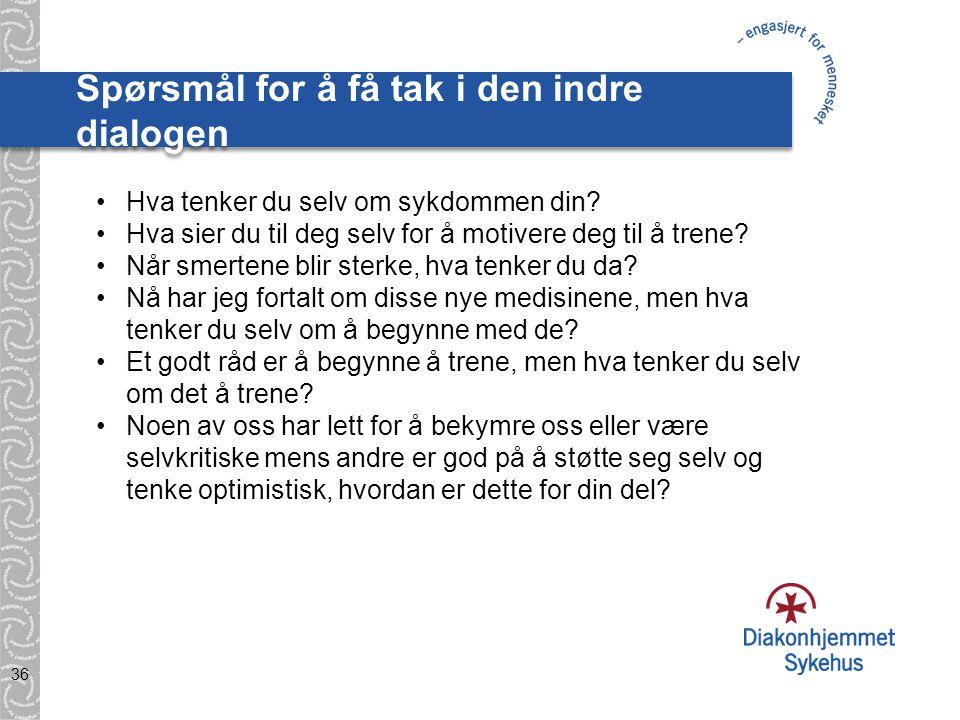 Spørsmål for å få tak i den indre dialogen 36 •Hva tenker du selv om sykdommen din.