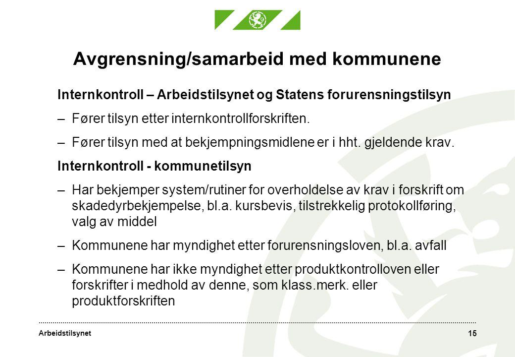 Arbeidstilsynet 15 Avgrensning/samarbeid med kommunene Internkontroll – Arbeidstilsynet og Statens forurensningstilsyn –Fører tilsyn etter internkontrollforskriften.