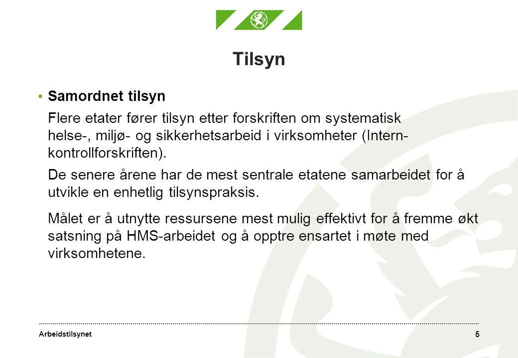 Arbeidstilsynet 5 Tilsyn • Samordnet tilsyn Flere etater fører tilsyn etter forskriften om systematisk helse-, miljø- og sikkerhetsarbeid i virksomheter (Intern- kontrollforskriften).