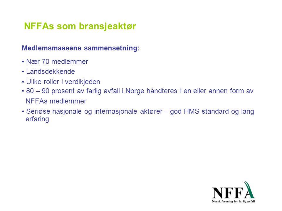NFFAs som bransjeaktør Medlemsmassens sammensetning: • Nær 70 medlemmer • Landsdekkende • Ulike roller i verdikjeden • 80 – 90 prosent av farlig avfall i Norge håndteres i en eller annen form av NFFAs medlemmer • Seriøse nasjonale og internasjonale aktører – god HMS-standard og lang erfaring