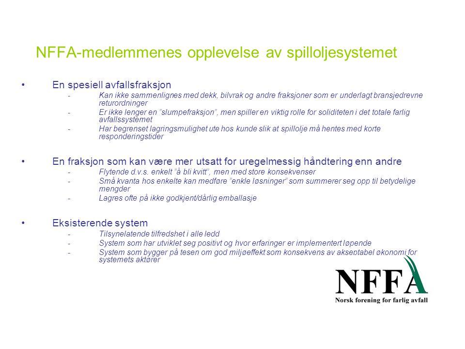 NFFA-medlemmenes opplevelse av spilloljesystemet •En spesiell avfallsfraksjon -Kan ikke sammenlignes med dekk, bilvrak og andre fraksjoner som er underlagt bransjedrevne returordninger -Er ikke lenger en slumpefraksjon , men spiller en viktig rolle for soliditeten i det totale farlig avfallssystemet -Har begrenset lagringsmulighet ute hos kunde slik at spillolje må hentes med korte responderingstider •En fraksjon som kan være mer utsatt for uregelmessig håndtering enn andre -Flytende d.v.s.