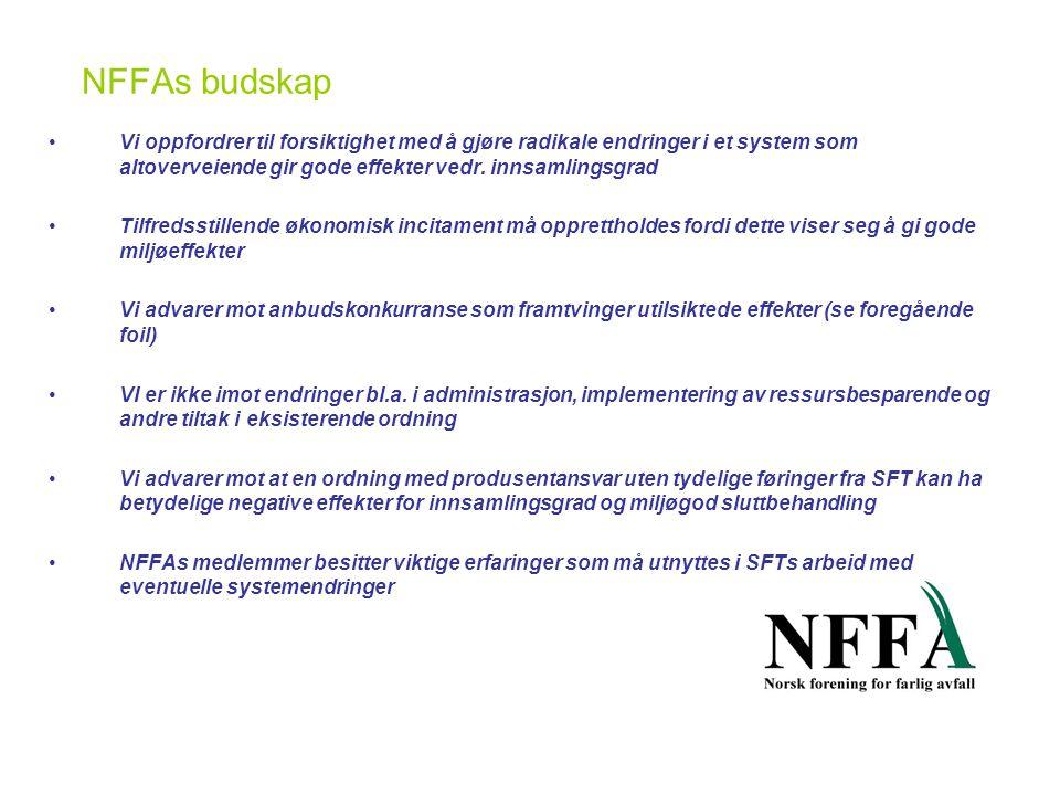 NFFAs budskap •Vi oppfordrer til forsiktighet med å gjøre radikale endringer i et system som altoverveiende gir gode effekter vedr.