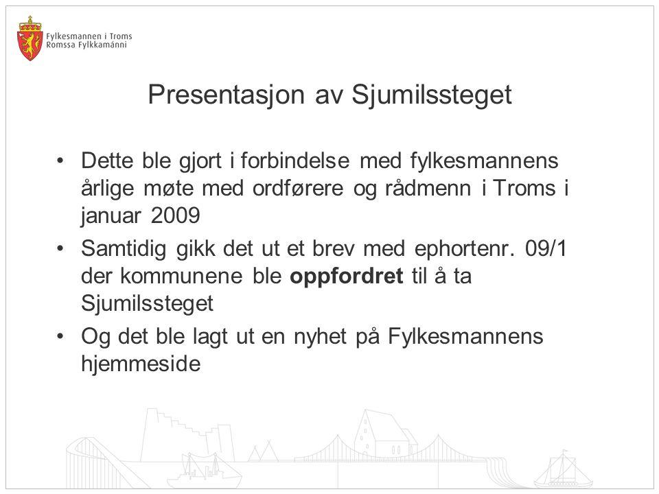 Presentasjon av Sjumilssteget •Dette ble gjort i forbindelse med fylkesmannens årlige møte med ordførere og rådmenn i Troms i januar 2009 •Samtidig gi