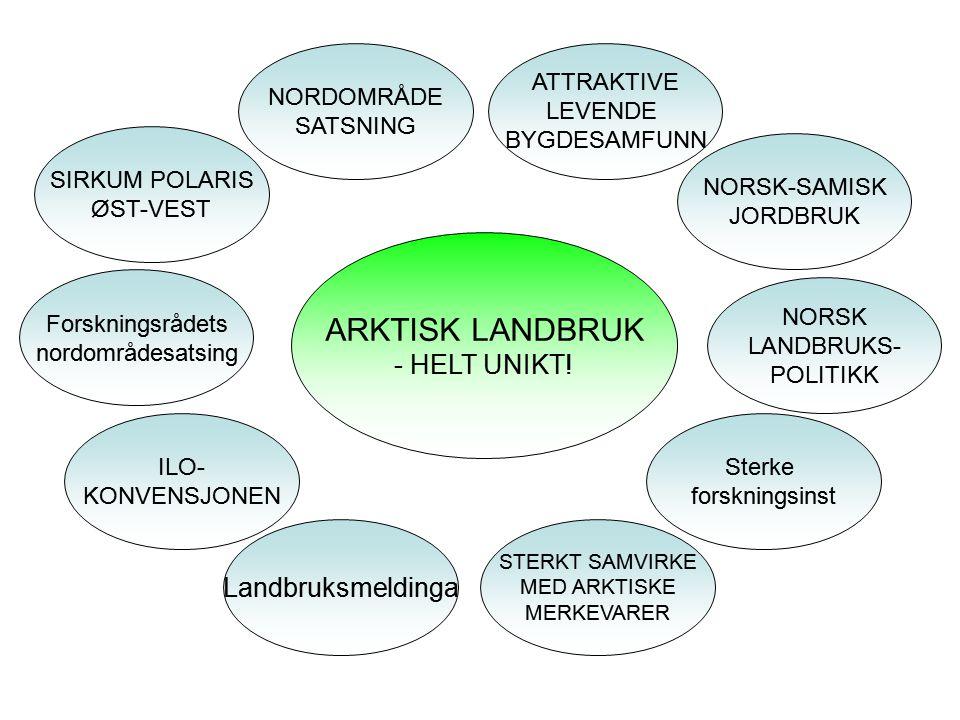 Arktisk landbruk Mål • Gi det multifungsjonelle Arktiske landbruket en ny gnist.