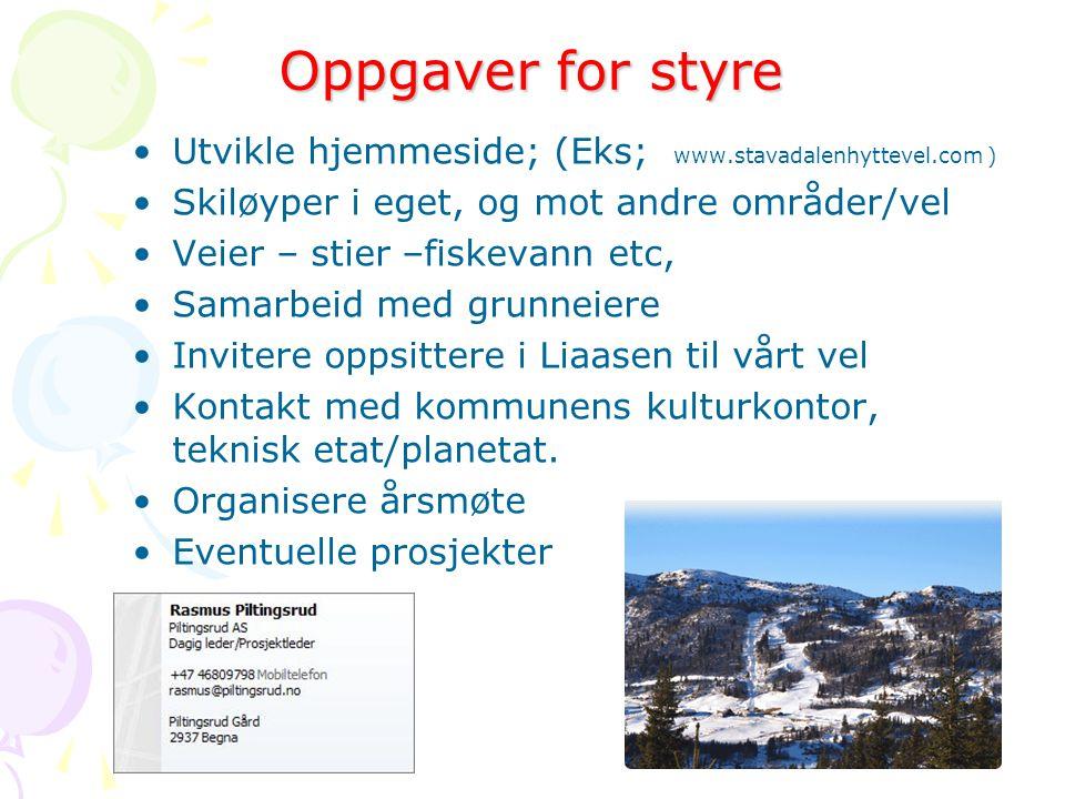 Oppgaver for styre •Utvikle hjemmeside; (Eks; www.stavadalenhyttevel.com ) •Skiløyper i eget, og mot andre områder/vel •Veier – stier –fiskevann etc,